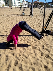 Working on a pike up from a plank, using the MostFit Suspension Strap