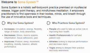 From the Soma System website