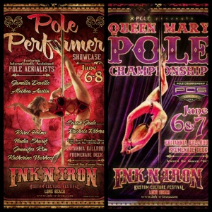 Ink-N-Iron Pole Performer Showcase & PCS Queen Mary Pole Championship posters